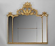 Italian Rococo (18th Cent.) Gilt Carved 3 Section Overmantle Mirror