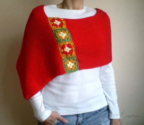 Knit Shawl Poncho Bolero Scarf Wrap Red with Afghan by bysweetmom