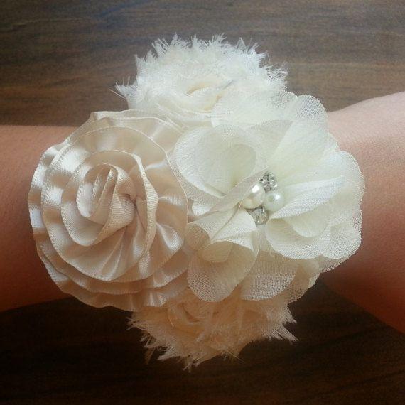 Wedding Corsage; Bridal Corsage; Shabby Flower Corsage; Mother of the Bride Corsage; Mother of the Groom Corsage; Prom Corsage