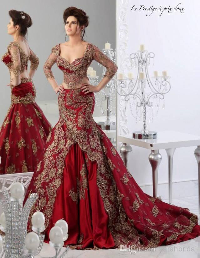 Wholesale Evening Dresses - Buy Red Formal Evening Dresses 2014 Arabic Jajja-Couture Embroidery V Neck Vestidos Ball Gowns Prom Cheap Ball Gowns 3/4 Long Sleeve Sexy Dress, $169.63 | DHgate