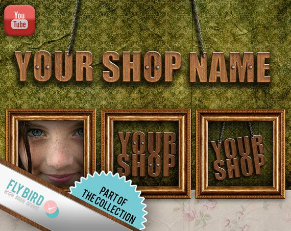 YouTube channel art  banners and avatars Wooden by FlyBirdBranding, €5.00
