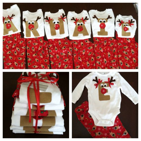 Christmas Pajama Set, Snowflake, Reindeer, Striped Flannel Pants, Rudolph Applique Initial Shirt, Personalized, Girls Boys Baby Toddler Kids on Etsy, $35.00