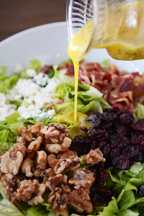 Amazing Romaine Salad with Light Poppy Seed Vinaigrette {My New Favorite Salad}