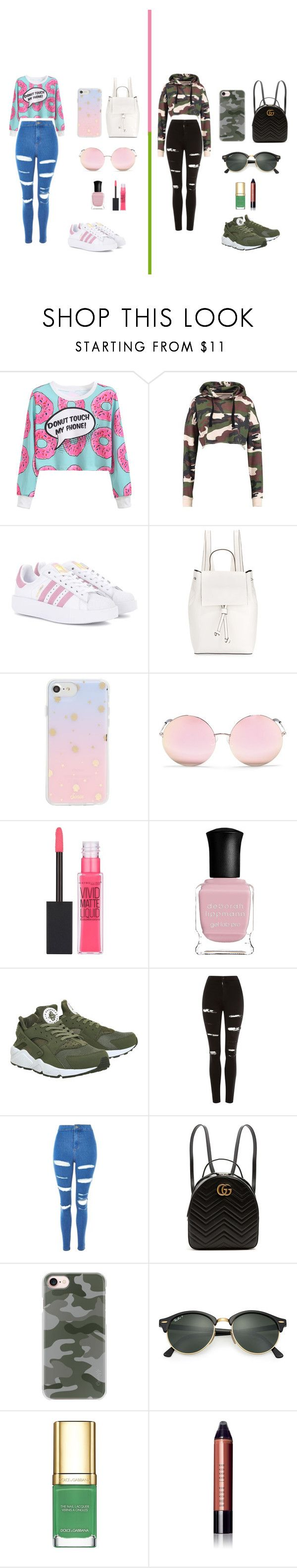 """#Candy −Camuflage"" by noguerarosangel ❤ liked on Polyvore featuring WithChic, adidas Originals, French Connection, Sonix, Matthew Williamson, Maybelline, Deborah Lippmann, NIKE, Topshop and Gucci"