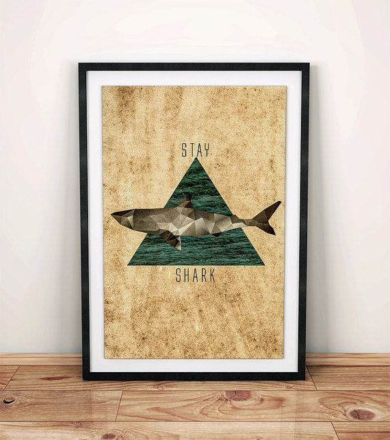 Shark Wall Art Print, Posters, Abstract Art