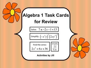 Fantastic for end of year review and EDITABLE!  These versatile task cards may be used for quarterly, semester, of end of year review for your Algebra 1 students. 96 questions are included along with a blank EDITABLE page so that you may add additional questions tailored to your students' needs.
