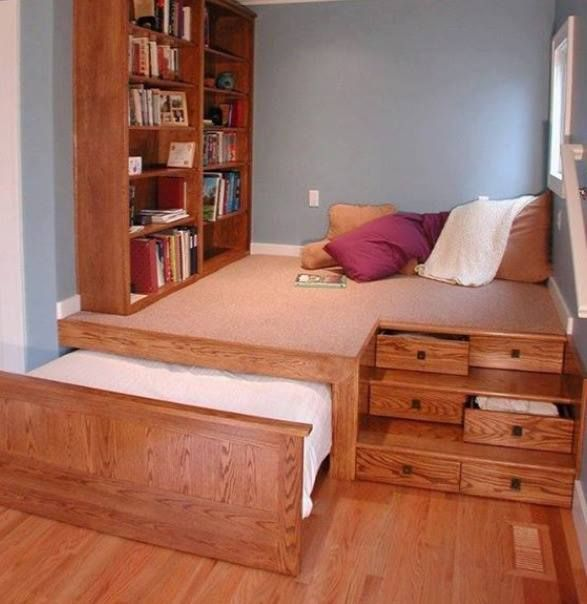 Trundle Bed Under Raised Floor Perfect For A Kids Room