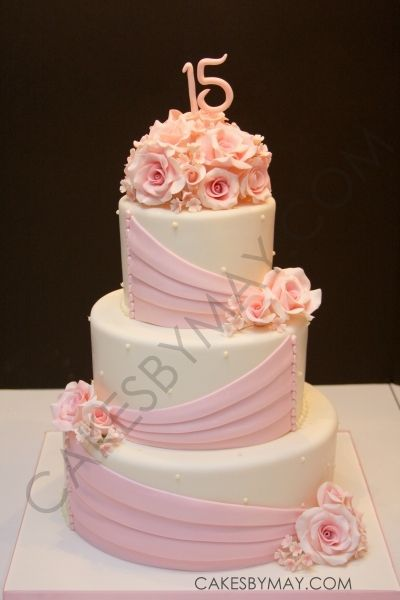 Pink Roses and Draping Quinceanera Cake By MayWest on CakeCentral.com