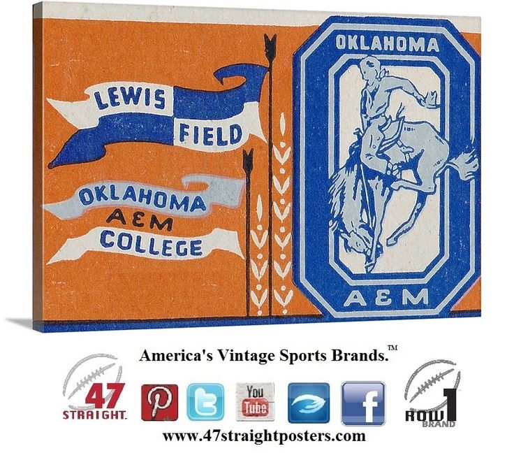 Vintage football art. #OSU #OKState #OklahomaState #Cowboys #collegefootball ticket art on canvas made from an authentic 1956 OSU football ticket. #vintage #sports #art #gifts #giftideas #CyberMonday