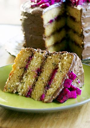 Dragon Fruit Layer Cake With Chocolate Frosting