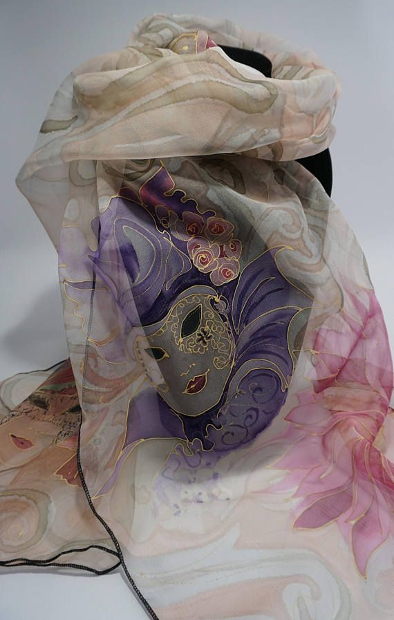 Etole écharpe foulard en Mousseline de Soie peint main