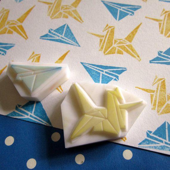 Origami-Kranich und Flugzeug-Stempel - set von 2 Abmessungen in mm: 15 x 20 und 30 x 30 (ab 0,75 bis 1,5) Dicke in mm: 8 bis 10 Finish: Stempel