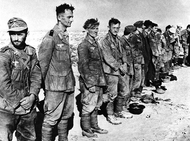 Some of the 97 German prisoners captured by the British forces in Egypt in a raid on Tel El Eisa. September 1, 1942.