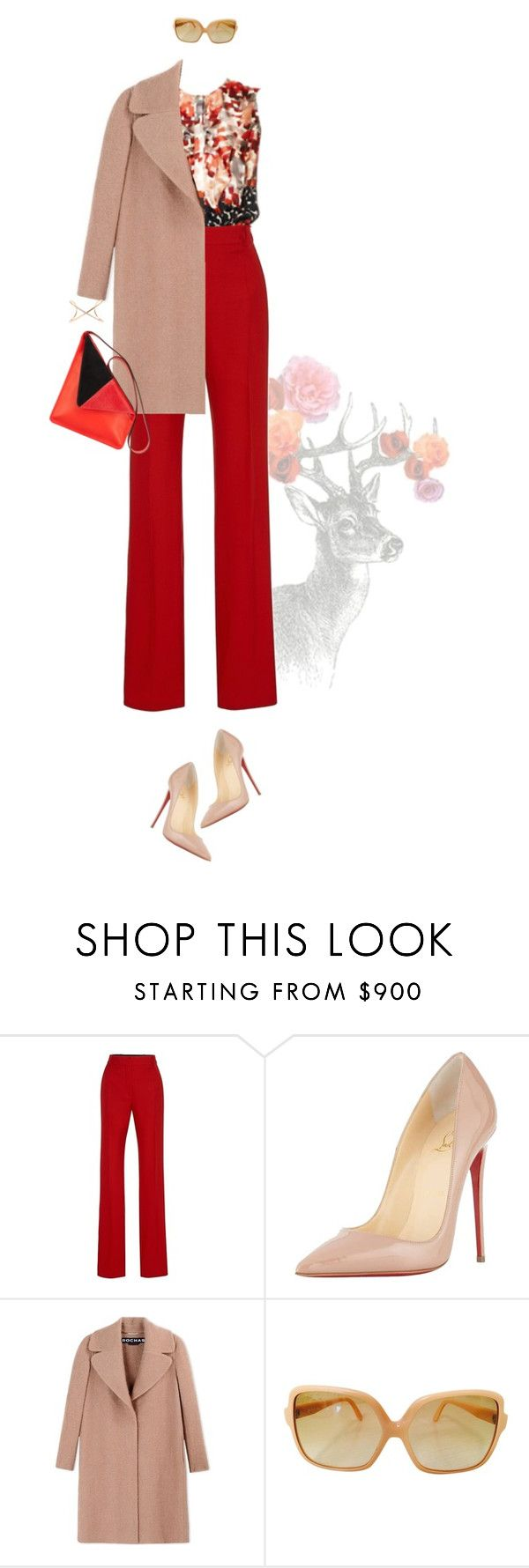 """Untitled #2000"" by land ❤ liked on Polyvore featuring Jonathan Saunders, Carolina Herrera, Christian Louboutin, Rochas, Hermès and Roberto Marroni"