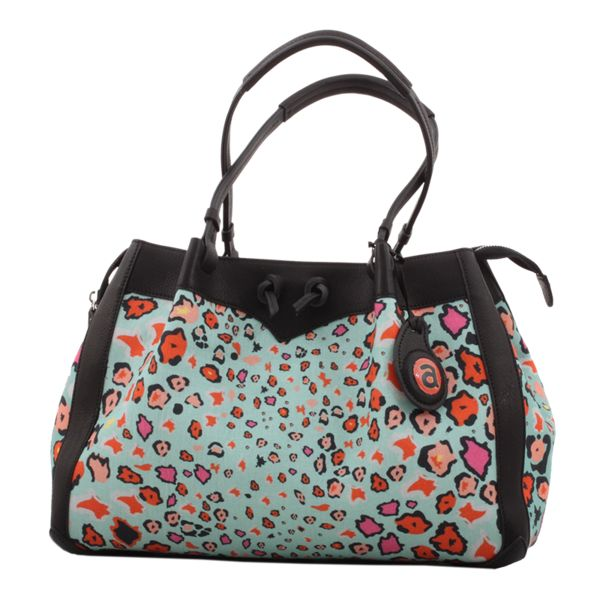 Ardmore Leopard Lights Kingfisher Fabric Handbag with Black or Orange Leather Trim. 26cm Height x 38cm Width x 18cm Depth.