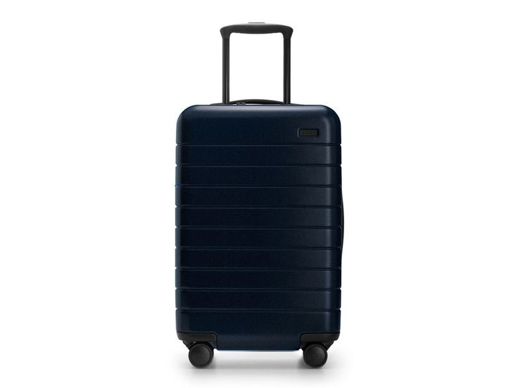 Away's sleek, lightweight carry-ons come with a removable battery and two USB ports, meaning you'll never get caught on-the-go without your devices fully-charged. The two interior compartments let you store your shoes and toiletries on one side and clothes on the other, and the bags come in a range of colors like a moss green or neutral sand. Our favorite? A deep, night sky navy.The Carry-On, awaytravel.com, $225