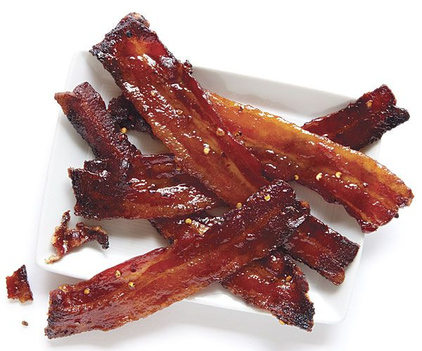 """Five-Spice Millionaire's Bacon - """"Inspired by the candied """"millionaire's bacon"""" at San Francisco's Sweet Maple restaurant, this version has even deeper flavor, thanks to soy sauce and Chinese five-spice powder."""""""