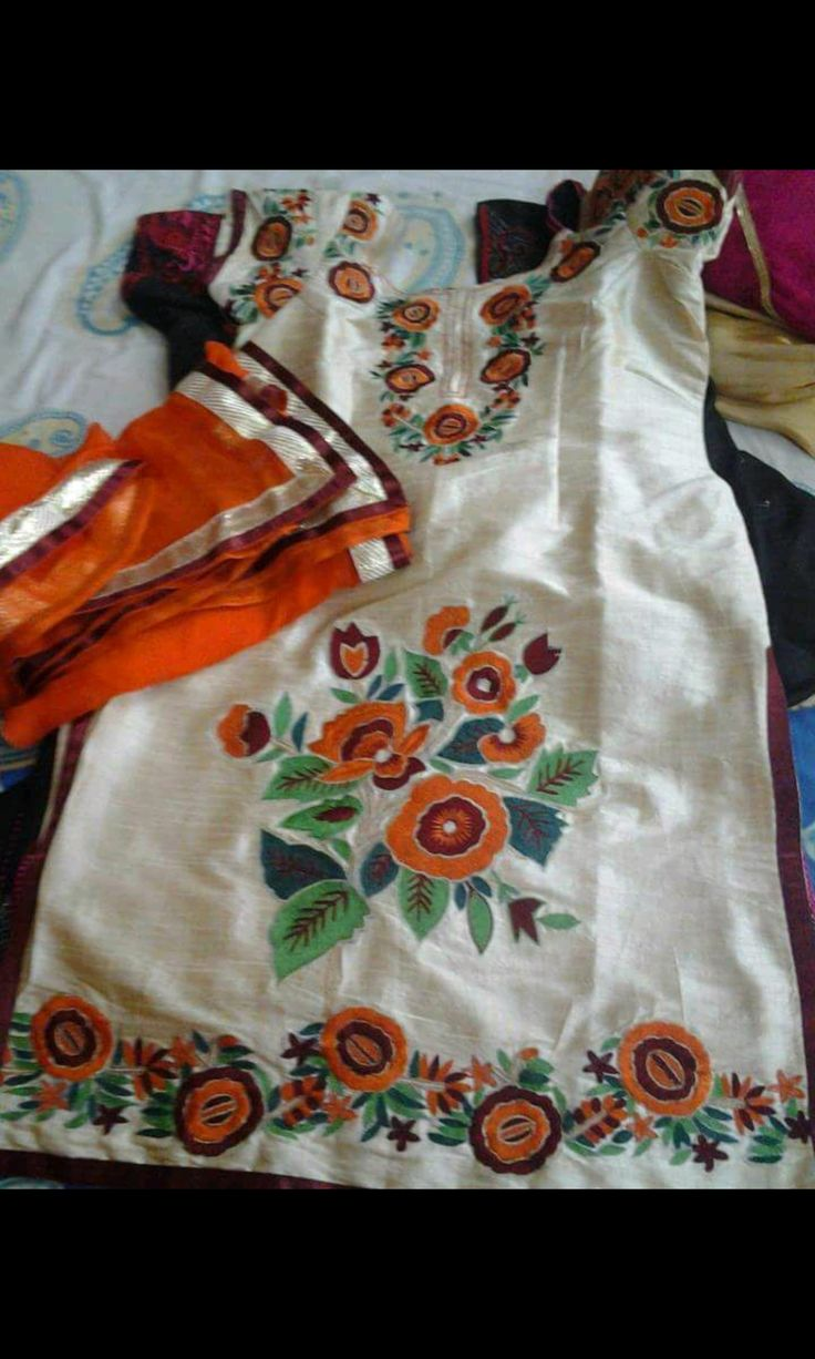 @nivetas Machine Embroidered Cotton Suit in White Cream With Orange Bottom, With Pure Chinon Chiffon Dupatta