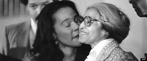 Coretta Scott King, Rosa Parks: Black History Photo Of The Day (#6) -- Rosa Parks, right, is kissed by Coretta Scott King, as she received the Martin Luther King, Jr. Non-violent Peace Prize in Atlanta, Jan. 14, 1980. Parks, who refused to give up her seat on a Montgomery, Ala., bus nearly 25 years ago, is the first woman to win the award. (AP Photo)