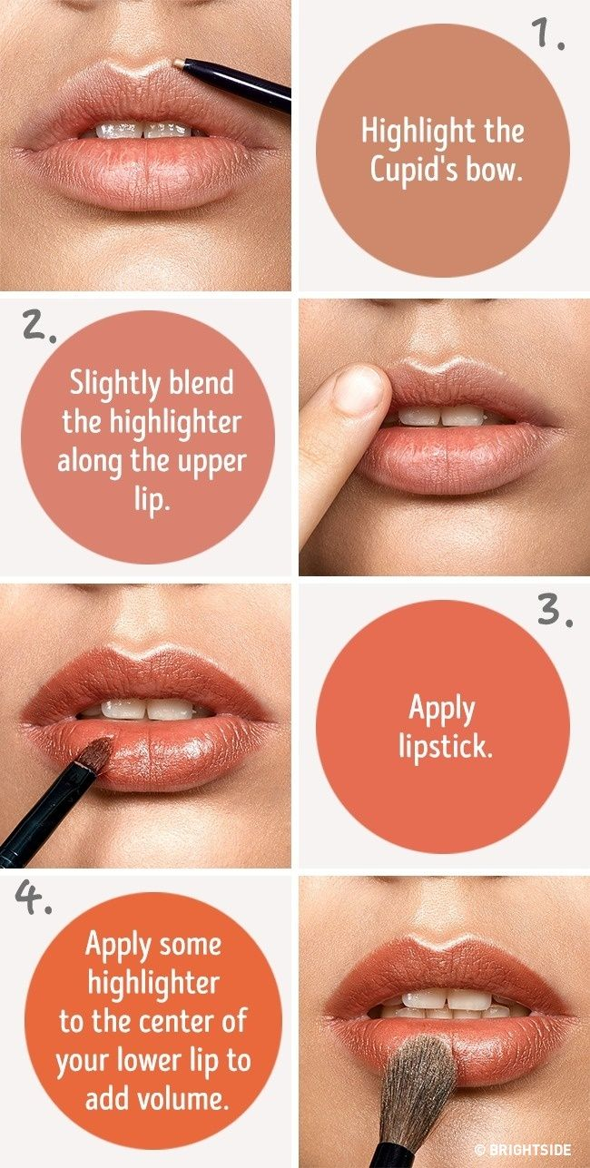 Six simple tricks that will make your lips look fuller -- use a highlighter to fake fuller lips -- Highlighting our Cupid's bow helps us to make the upper lip more convex and emphasize the lip contour. When finishing your makeup, you can apply a highlighter to your upper lip if you wish.