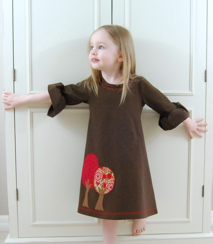 Autumn trees brown jersey knit dress