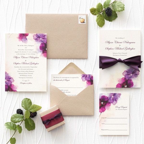 wedding paper divas soft bougainvillea wedding invitation suite watercolor theme invites purple fuchsia kraft