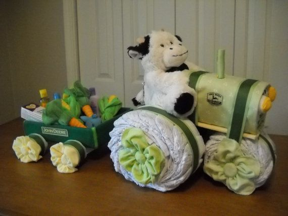 John Deere Tractor and Wagon Diaper Cake -I have to make one of these!