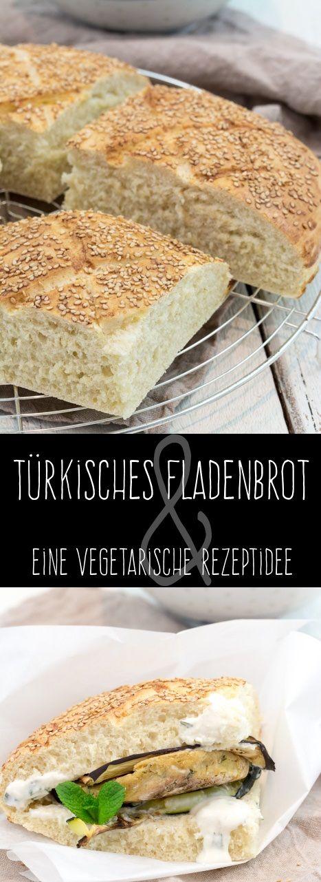 Türkisches Fladenbrot und ein vegetarischer Döner mit Kichererbsen-Bratling Ofengemüse und Joghurt-Minz-Dip #falafel