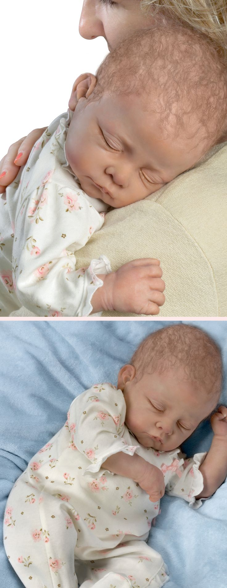 Cherish the joys of a newborn with the first-ever lifelike Linda Murray baby doll that breathes, coos and has a heartbeat!