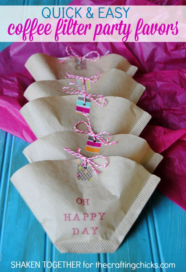 Super cute party favors made from coffee filters - love the washi tape and bakers twine!