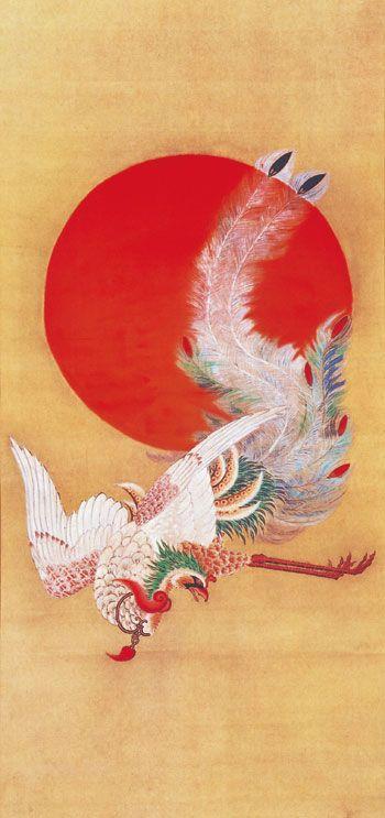 Phoenix and the Sun by Ito Jakuchu, ukiyo-e Mythological animals
