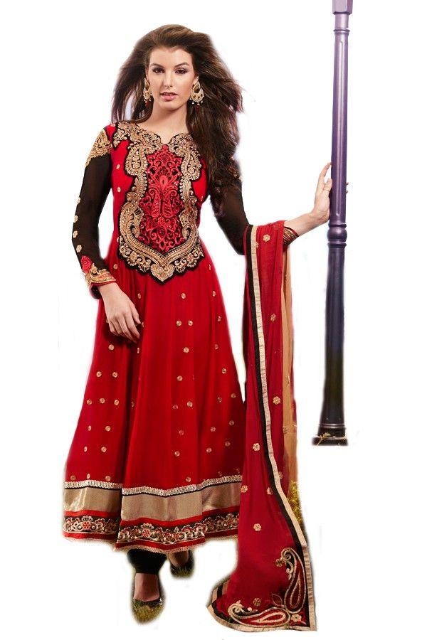 Shop Now - http://valehri.com/salwar-kameez/920-lavishly-designed-ruby-red-attire-with-flowing-georgette-and-chiffon-dupatta.html