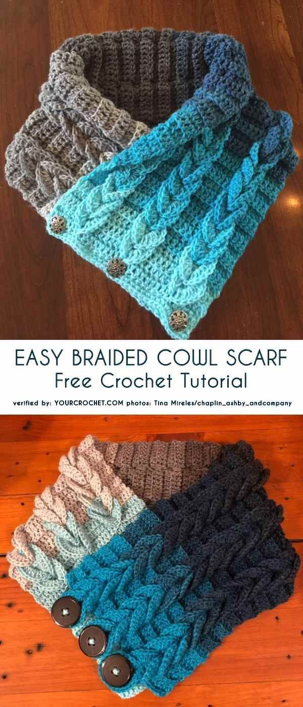 Simple Braided Cowl Scarf Kostenloses Tutorial, Crochet Flaps   – Strick Muster