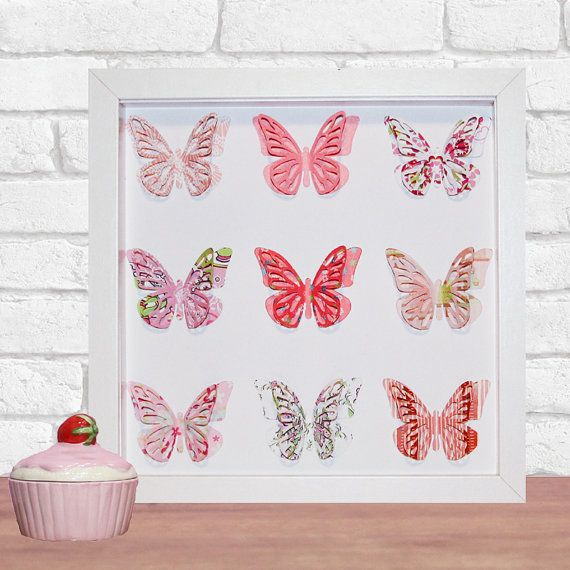 Framed Butterfly 3D Paper Art Home Decor in your by DorisDearest