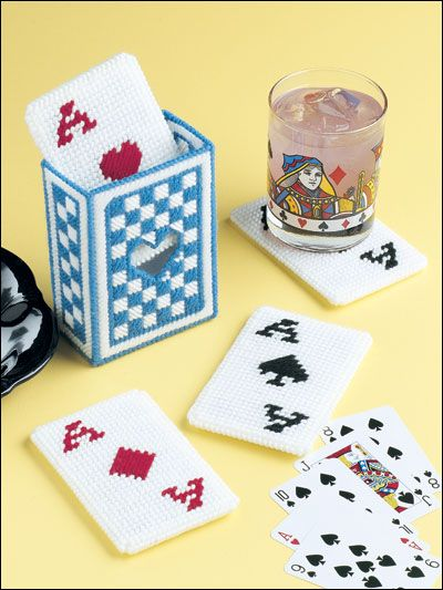 Card Coasters: Plastic Canvases Crochet, Plastic Canvases Coast, Queen Of Heart, Plastic Canvas Coasters, Canevas Plastique, Playing Cards, Cards Coasters, Canvases Coasters, Plays Cards