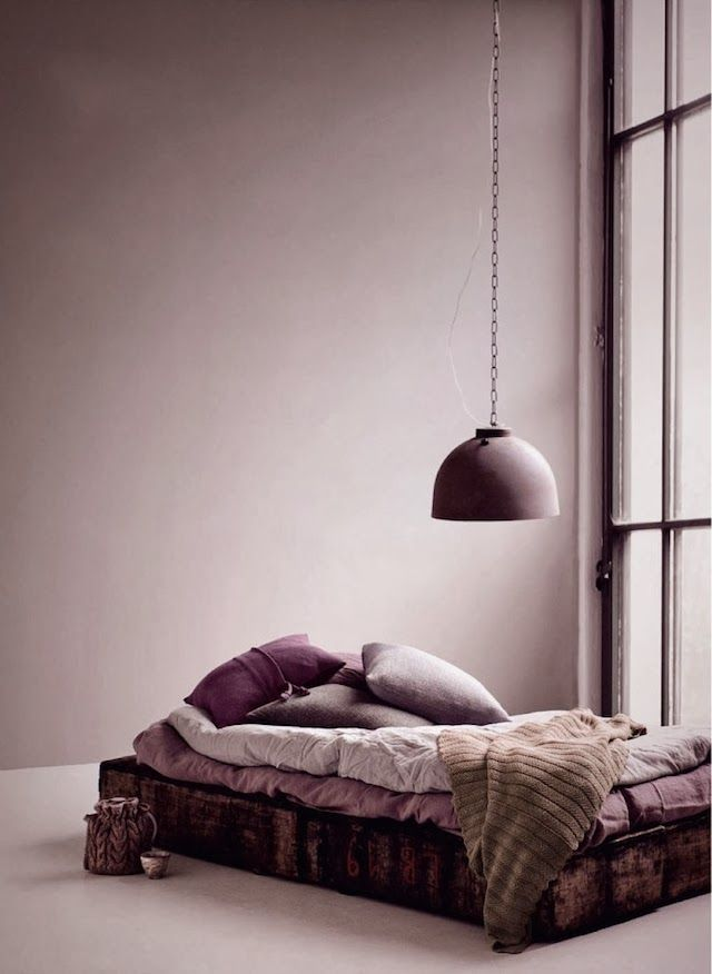The deeper shades of purple and plum here would look lovely on certain accessories in the bedroom.: