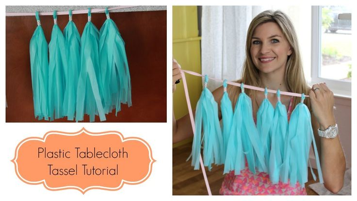 Using cheap plastic table cloths from Walmart to make tassels instead of tissue paper.  So smart!