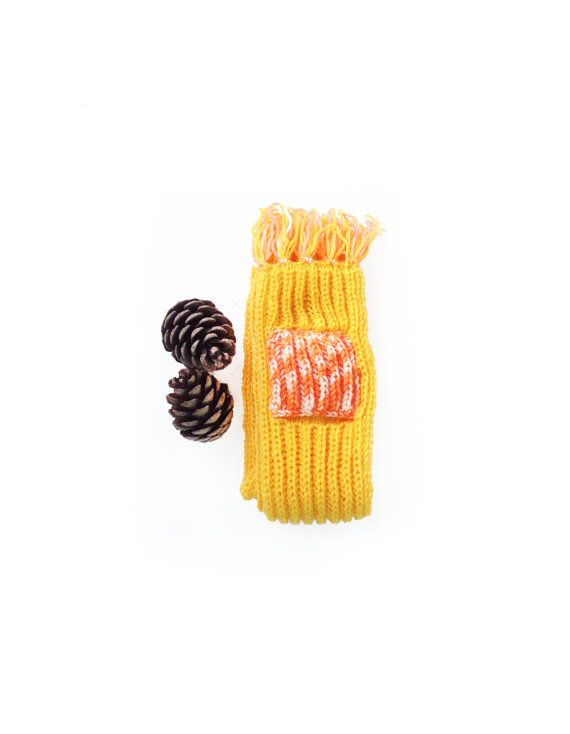 Hand knit yellow long scarf with pockets  Knit scarf by GuruMIme