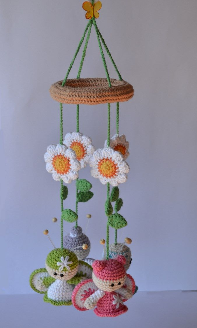 Amigurimi pattern for a baby mobiles with sunflowers and bees #Crochet