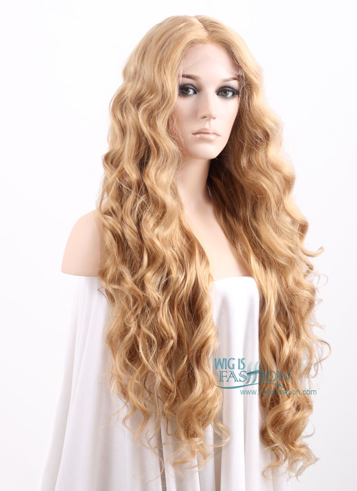 """26"""" Long Curly Golden Blonde Lace Front Synthetic Hair Wig LF244"""