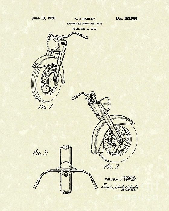 Image result for harley motorcycle patent blueprint drawings front view