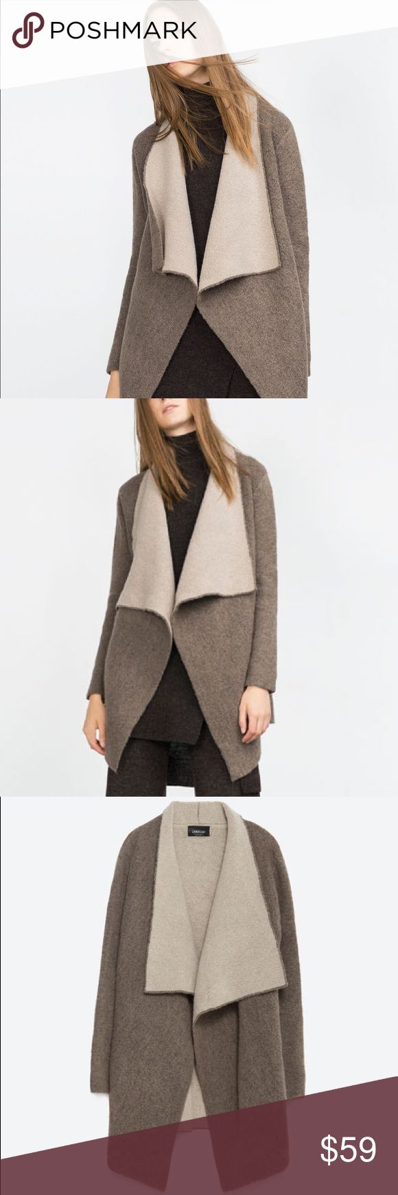 SUPERSOFT TWO-TONED OPEN CARDIGAN Gorgeous dark taupe and light taupe open cardigan.. super soft texture!! Really comfortable. Wool/Acrylic/Polyester blend. Cozy and beautiful. Brand new with tags. Zara Sweaters
