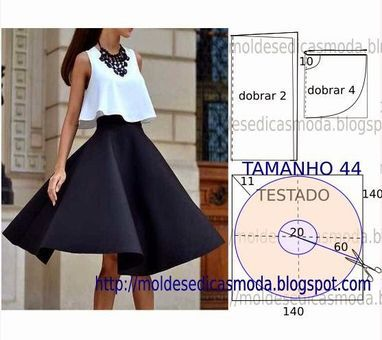 SAIA FÁCIL DE CORTAR E FAZER - 4 | circle skirt and top are both really nice, looks simple enough to make
