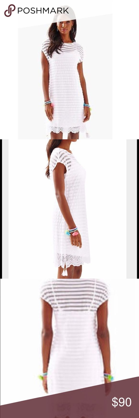 NWT Lilly Pulitzer Adria Turtle Bay Tunic Dress NWT Lilly Pulitzer Adria Tunic Dress. White mesh/lace-style dress with stripes. Gorgeous detailing at bottom. Tassels hang on both sides. White spaghetti strap dress acts as lining. NWT/never worn and no defects. Lilly Pulitzer Dresses Mini