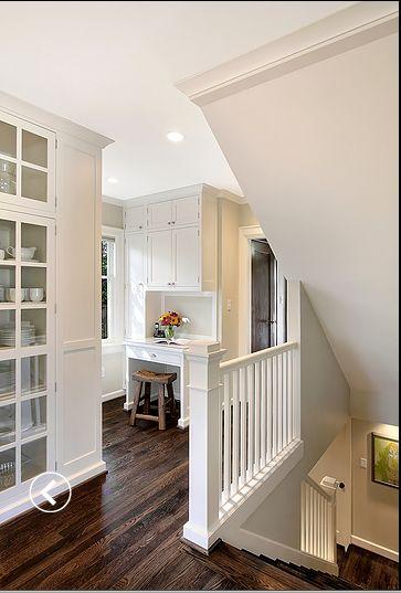 White Walls Dark Hardwood Floors Interior Inspiration Pinterest Small Desks Cabinets And Hardwood Floors
