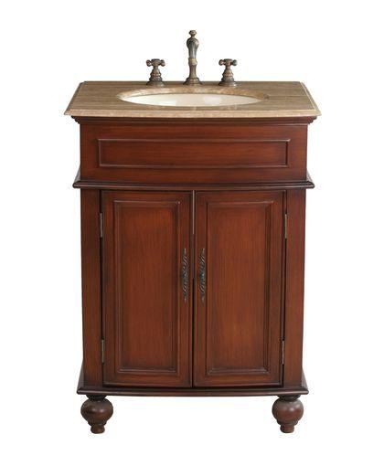 Stufurhome 26 inch Prince Single Sink Vanity with Travertine Marble Top