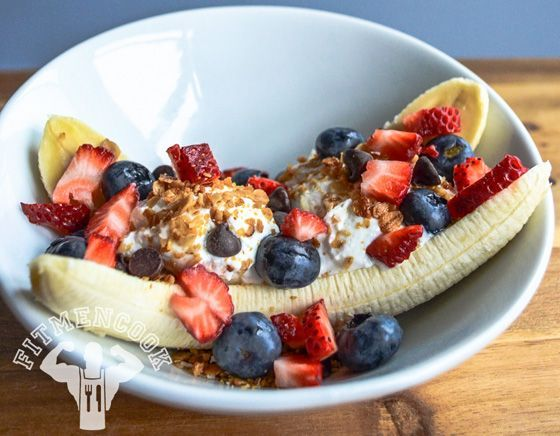 """Banana Split"" Breakfast Sundae made with non fat greek yogurt and protein powder"