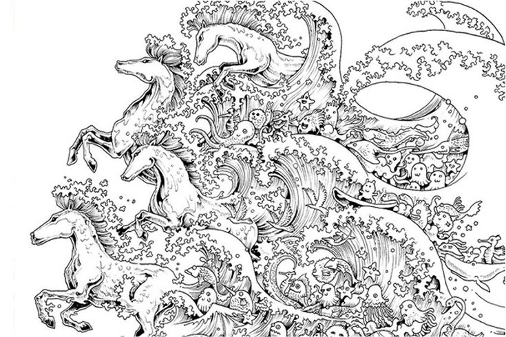 difficult horse coloring pages | Stress coloring book