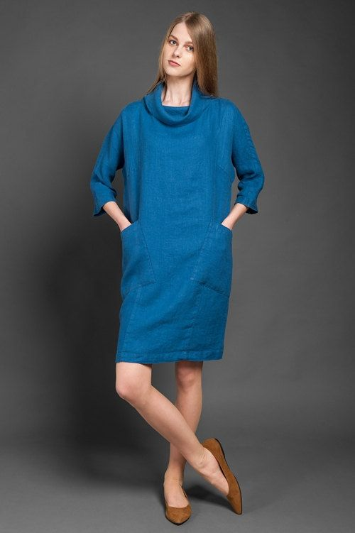 Cowl neck linen dress in dark blue / denim blue, mid length, 3/4 length sleeves, loose fit, linen dresses for women