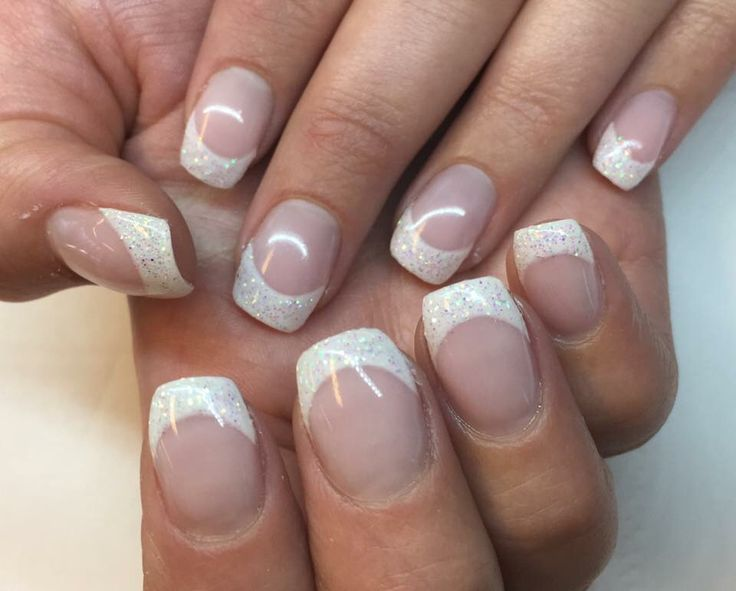 Gelnails French manicure Glitter